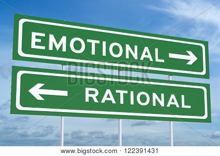 emotional or rational concept on the road signs