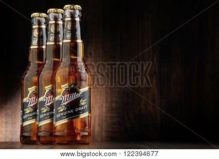 POZNAN POLAND - MARCH 18 2016: Miller Genuine Draft is the original cold filtered packaged draft beer a product of the Miller Brewing Company owned by SABMiller