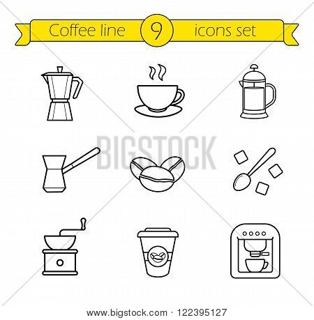 Coffee linear icons set. French press and Italian stove top coffee maker thin line drawings. Takeaway paper cup and coffee mill. Espresso machine and roasted coffee beans outline illustrations.