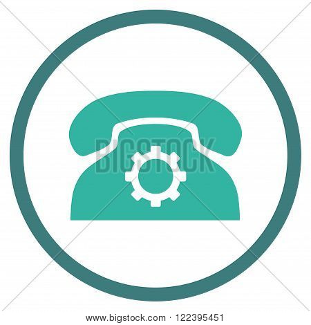 Phone Preferences vector bicolor icon. Picture style is flat phone settings rounded icon drawn with cobalt and cyan colors on a white background.