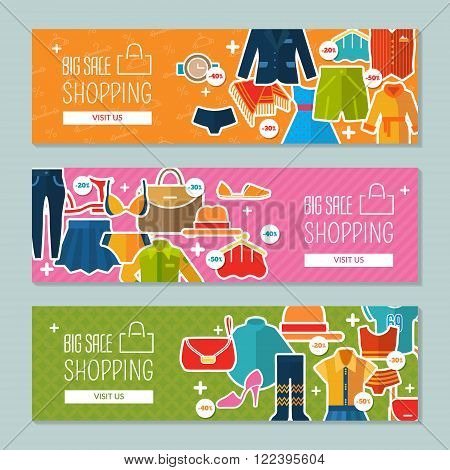 Big sale and shopping. Set with banners for web site. Vector illustration with color clothing. EPS 10