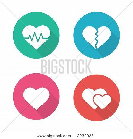 Heart shapes flat design icons set. Cardiology clinic logo concept. Long shadow pictograms. Heartbeat rhythm, broken heart, love sign, romantic relationship white silhouette vector illustrations