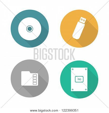 Digital data storage devices flat design icons set. Cd disc, pocket usb flash drive, memory sd card, external hdd. Long shadow logo concepts. Computer hardware equipment. Vector illustrations