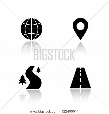 Gps map navigation drop shadow icons set. Highway, off road, global navigation system, pinpoint mark. Mapping and tracking app interface items. Cast shadow logo concepts. Vector black illustrations
