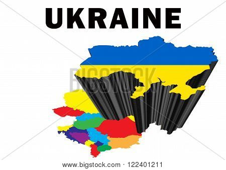 Outline map of Eastern Europe with Ukraine raised and highlighted with the national flag