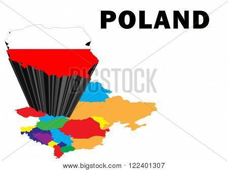 Outline map of Eastern Europe with Poland raised and highlighted with the national flag