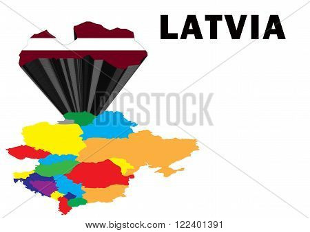 Outline map of Eastern Europe with Latvia raised and highlighted with the national flag