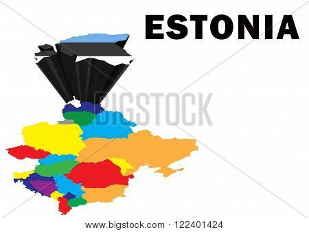 Outline map of Eastern Europe with Estonia raised and highlighted with the national flag