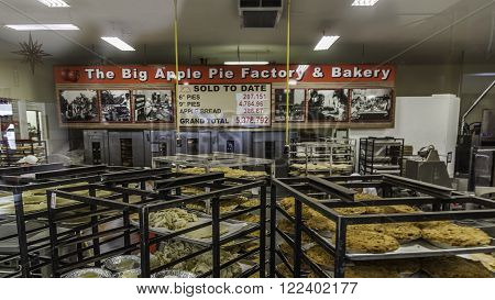 COLBORNE, ONTARIO, CANADA - Feb 13, 2016: Staffs are baking pies in  Big Apple pie factory and Bakery in Colborne, Ontario.