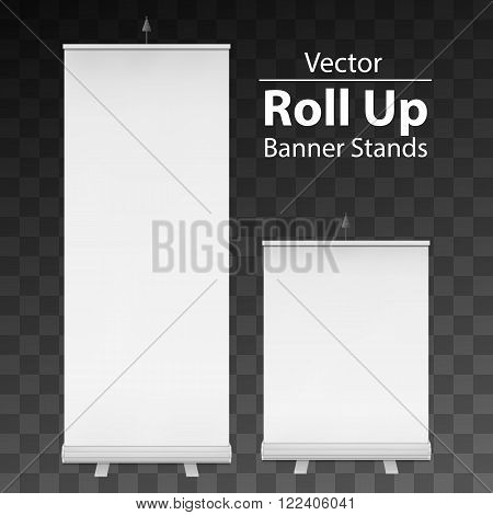 Blank Roll Up Banner Expo Stands. Trade show booth white and blank. 3d vector illustration on dark transparent background. Template mockup for your expo design.