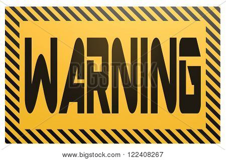 Yellow and black banner with warning  word