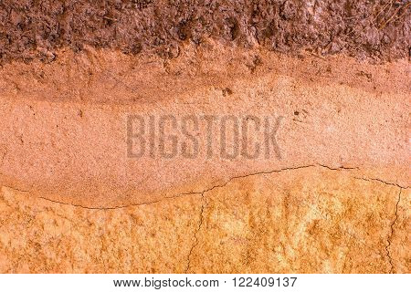 patterned layer of clay soil for the background.