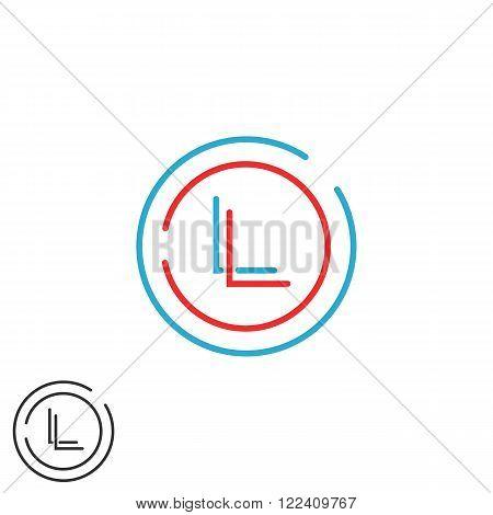 Hipster Initials Ll Letters Logo, Combination L L Thin Line Wedding Invitation Monogram Emblem Mocku