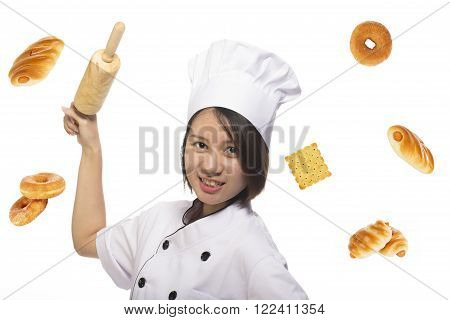 Chef Asian woman holding baking rolling pin wearing uniform and bakery isolated on white background