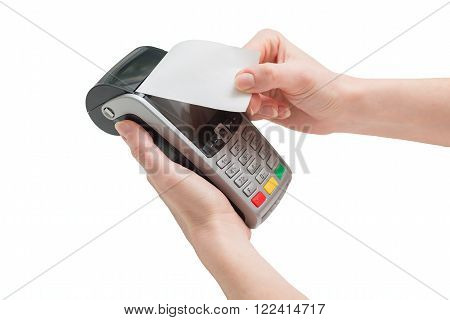 Pos terminal. Getting a receipt on a white background.