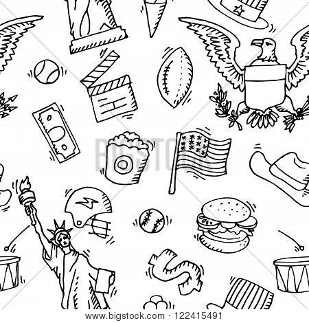 American Doodle set pattern. Travel symbols in hand drawn sketch. Vector icons, sign of landmark, lettering.