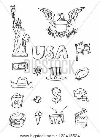 American Doodle set. Travel symbols in hand drawn sketch. Vector icons, sign of landmark, lettering.