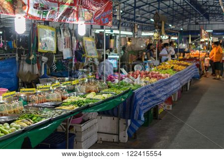 Bangkok Thailand - February 19 2016 : Thai exotic food in street food market. Like the charming people exotic foods greets you on almost every corner in Thailand.