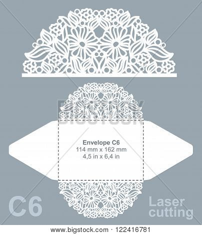 Vector die cut envelope template for laser cutting. Invitation envelope C6. poster
