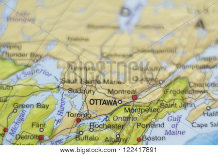 Beautiful photo of a map of Canada and the capital Ottawa .