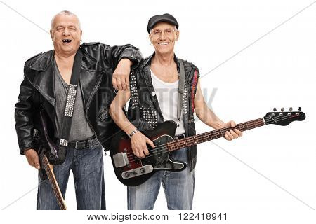 Senior punk guitarist and bass player posing together isolated on white background