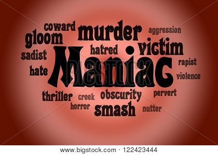 Association to the word Maniac. Dlack letters on a red background