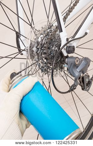 Preparing bicycle for a new season. Lubricating freewheel or cogwheel