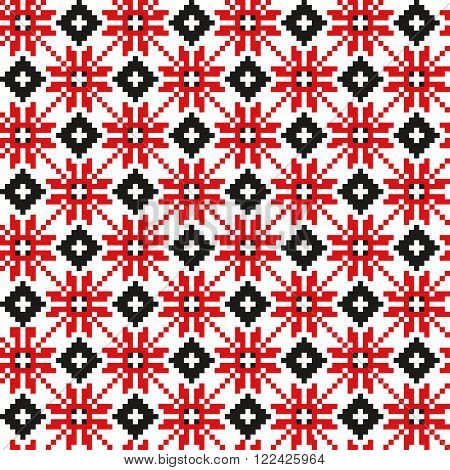 Belorussian ethnic ornament, seamless pattern. Vector illustration. Slovenian Traditional Pattern Ornament. Seamless Background. Belarusian pattern