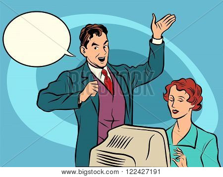 Retro businessman policies Secretary dictates the text pop art line art comic retro. The writer works. comic bubble