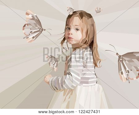 Beautiful little girl looking backward with butterflies around her made out of polygons shapes on triangles soft background