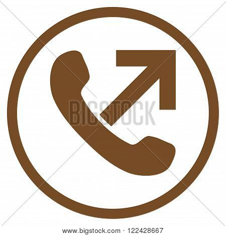 Outgoing Call vector icon. Picture style is flat outgoing call rounded icon drawn with brown color on a white background.