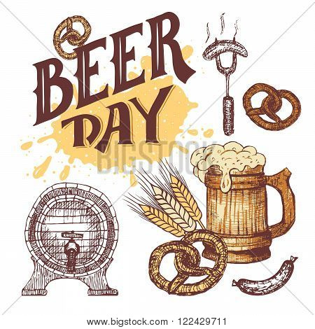 Beer day hand lettering. Hand drawn elements set in sketch style. German food and beer symbols isolated on white background. Octoberfest mug of beer with sausage pretzel and beer keg