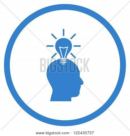 Genius Bulb vector icon. Picture style is flat genius bulb rounded icon drawn with cobalt color on a white background.