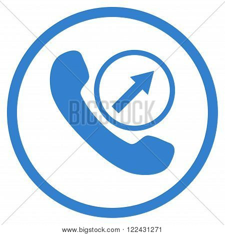 Outgoing Call vector icon. Picture style is flat outgoing call rounded icon drawn with cobalt color on a white background.