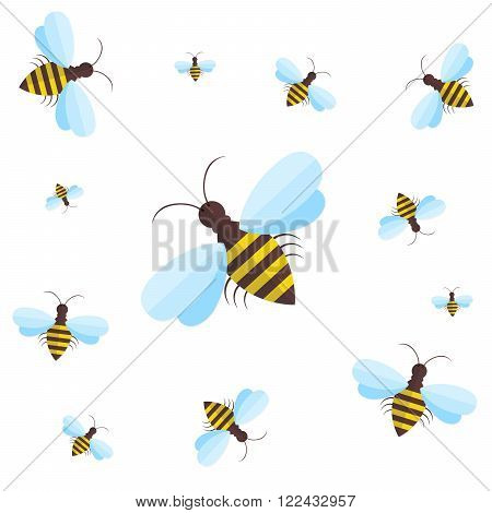 Bee sign icon. Bee on white background. Flying insect. Flat icon of bee - vector illustration. Background with flying bees of various sizes can be used as a seamless.