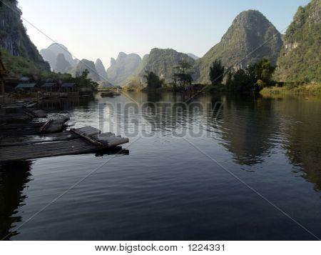 Mountain Range In China From A Slow 'Sampan'