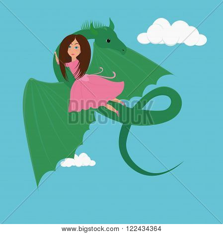 small girl Princess in pink dress and the green Dragon cartoon illustration