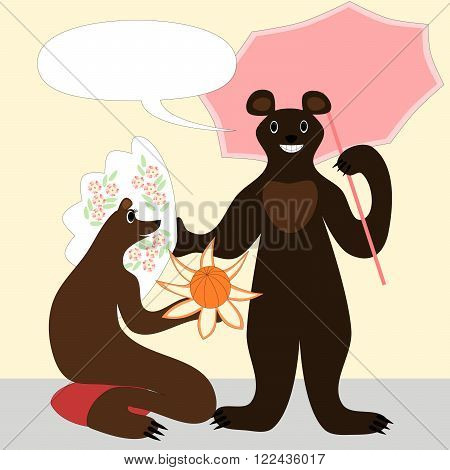 Cartoon bears male and female illustration in japanese style. She kneels on red pillow, with a orange fruit stylized as flower. He hold a pink parasol and white painted fan. Smiling and happy animals.