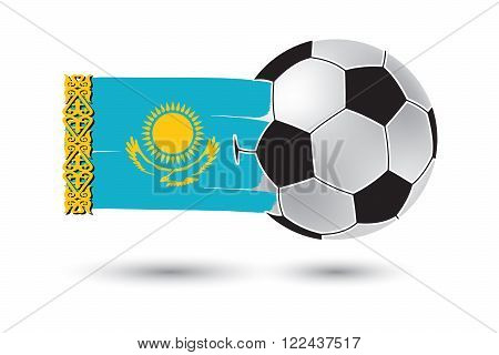 Soccer Ball And Kazakhstan Flag With Colored Hand Drawn Lines