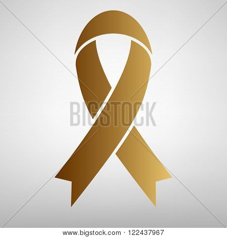 Black awareness ribbon sign. Flat style icon with golden gradient