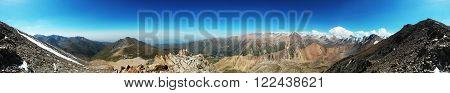 Mountain pano. Climbing up to Tourist peak (3954m), Almaty, Kazakhstan