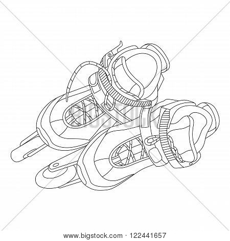 Vector line art roller skates. Hand-drawn vector illustration. Can be used for graphic design textile design or web design.