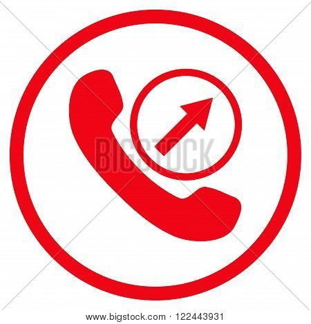 Outgoing Call vector icon. Picture style is flat outgoing call rounded icon drawn with red color on a white background.