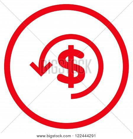 Rebate vector icon. Picture style is flat refund rounded icon drawn with red color on a white background.