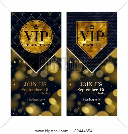 VIP party premium invitation cards posters flyers set. Black and golden design templates. Glow bokeh and quilted pattern decorative background. Mosaic faceted letters.