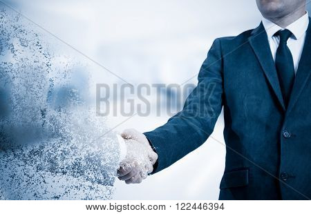 Handshake. The concept is not a reliable partner in business. The effect of the collapse.