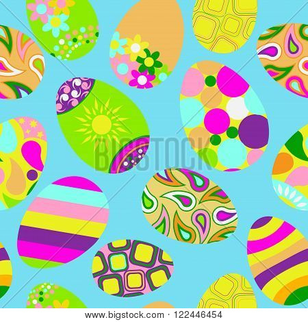 Seamless Multicolored Pattern Of Easter Eggs