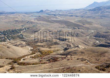 An autumn valley with blue sky in Crimea