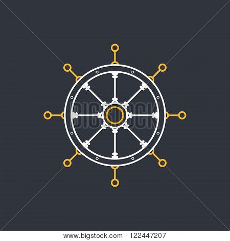 Ship's  Wheel, Marine Emblem with Boat's Wheel,  Line Style Design, Logo Design Element, Vector Illustration