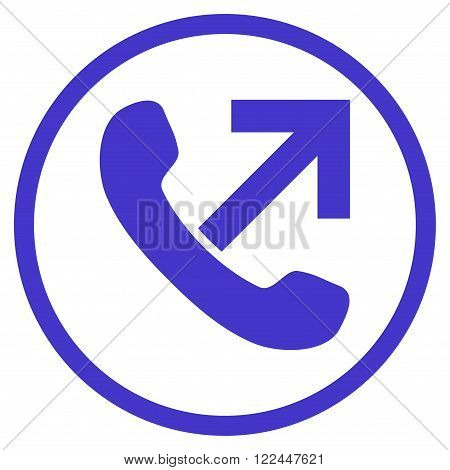 Outgoing Call vector icon. Picture style is flat outgoing call rounded icon drawn with violet color on a white background.